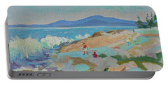 Portable Battery Charger featuring the painting Playing On Schoodic Rocks by Francine Frank
