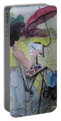 Plein-air Artist Sandra Portable Battery Charger by Gretchen Allen