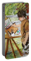 Plein-air Painter Boy Portable Battery Charger by Gretchen Allen