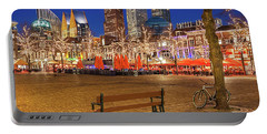 Portable Battery Charger featuring the photograph Plein Square At Night - The Hague by Barry O Carroll