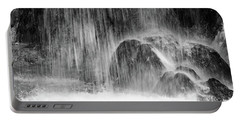 Plitvice Waterfall Black And White Closeup - Plitivice Lakes National Park, Croatia Portable Battery Charger