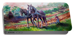 Portable Battery Charger featuring the painting Ploughing by Paul Weerasekera