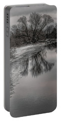 Plover River Black And White Winter Reflections Portable Battery Charger