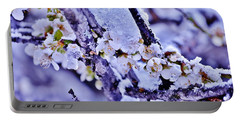 Portable Battery Charger featuring the photograph Plum Blossoms In Snow by Kim Bemis