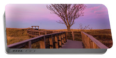 Plum Island Boardwalk With Tree Portable Battery Charger