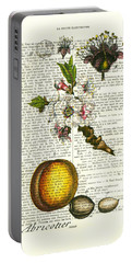 Plum Fruit And Blossom Plant Antique Illustration Portable Battery Charger