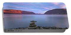 Plum  Point Rock Cairn At Sunset Portable Battery Charger