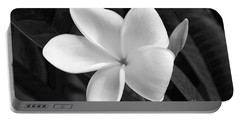 Plumeria In Monochrome Portable Battery Charger