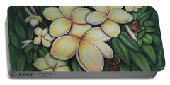 Portable Battery Charger featuring the painting Plumeria by Lynn Buettner