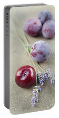 Portable Battery Charger featuring the photograph Plums And Lavender by Cindy Garber Iverson