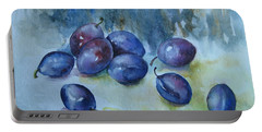 Portable Battery Charger featuring the painting Plums by Elena Oleniuc