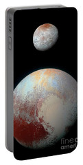 Pluto And Charon Portable Battery Charger by Nicholas Burningham