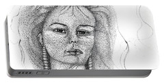Portable Battery Charger featuring the drawing Pocahontas by Mayhem Mediums