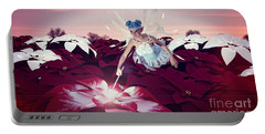 Portable Battery Charger featuring the digital art Poinsettia Snow Fairy by Methune Hively
