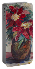 Poinsettias In A Brown Vase Portable Battery Charger