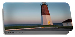 Portable Battery Charger featuring the photograph Point Judith Lighthouse Rhode Island by Nancy De Flon