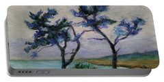 Portable Battery Charger featuring the painting Point Lobos State Natural Reserve Carmel-by-the-sea California Landscape 18 by Xueling Zou