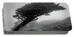 Point Reyes Fog Black And White Portable Battery Charger
