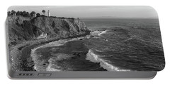 Point Vicente Lighthouse Palos Verdes California - Black And White Portable Battery Charger