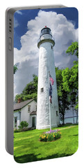 Portable Battery Charger featuring the painting Pointe Aux Barques Lighthouse by Christopher Arndt