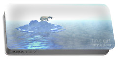 Portable Battery Charger featuring the digital art Polar Bear On Iceberg by Phil Perkins