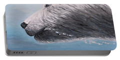Portable Battery Charger featuring the painting Polar Bear Splash by Judy Kirouac