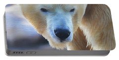 Polar Bear Wooden Texture Portable Battery Charger by Dan Sproul