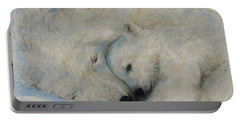 Portable Battery Charger featuring the drawing Polar Snuggle by Meagan  Visser