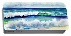 Portable Battery Charger featuring the painting Polhale Waves 3 by Marionette Taboniar