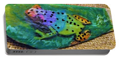 Polka-dotted Rainbow Frog Portable Battery Charger by Ann Michelle Swadener