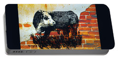 Portable Battery Charger featuring the drawing Polled Hereford Bull  by Larry Campbell