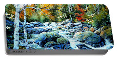 Portable Battery Charger featuring the painting Polliwog Clearing by Hanne Lore Koehler