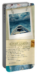 Poloroid Of Boat With Inspirational Quote Portable Battery Charger