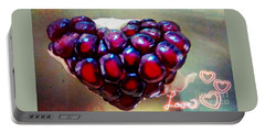 Portable Battery Charger featuring the digital art Pomegranate Heart by Genevieve Esson
