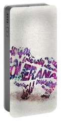 Portable Battery Charger featuring the painting Pomeranian Dog Watercolor Painting / Typographic Art by Inspirowl Design