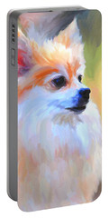 Pomeranian Portrait Portable Battery Charger by Jai Johnson