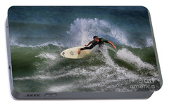 Portable Battery Charger featuring the photograph Ponce Surfer 2017 by Deborah Benoit
