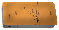 Pond Reeds In Reflected Sunrise Portable Battery Charger