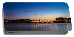 Pont Des Catalans And Garonne River At Night Portable Battery Charger by Semmick Photo