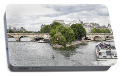 Portable Battery Charger featuring the digital art Pont Neuf Panorama by Kai Saarto