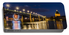 Pont Saint-pierre With Street Lanterns At Night Portable Battery Charger by Semmick Photo