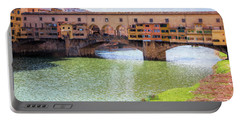Portable Battery Charger featuring the photograph Ponte Vecchio Florence Italy II Painterly by Joan Carroll