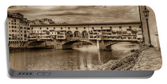 Ponte Vecchio Florence Italy Monotone 7k_dsc2439_09152017 Portable Battery Charger