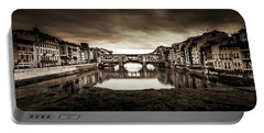 Ponte Vecchio In Sepia Portable Battery Charger by Sonny Marcyan