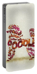 Portable Battery Charger featuring the painting Poodle Dog Watercolor Painting / Typographic Art by Inspirowl Design