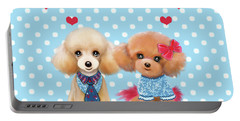 Portable Battery Charger featuring the painting Poodles Are Love by Catia Lee