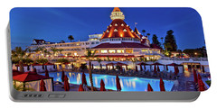 Poolside At The Hotel Del Coronado  Portable Battery Charger by Sam Antonio Photography
