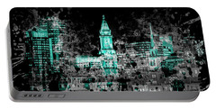 Portable Battery Charger featuring the photograph Pop Art Boston Skyline - Cyan by Melanie Viola