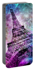 Portable Battery Charger featuring the photograph Pop Art Eiffel Tower by Melanie Viola