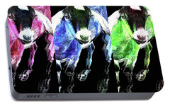 Pop Art Goats Trio - Sharon Cummings Portable Battery Charger by Sharon Cummings